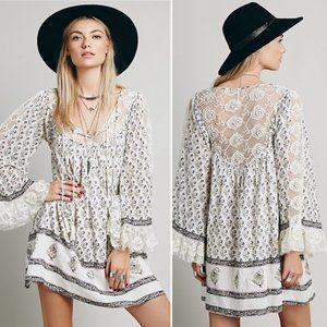 Free People Nomad Child Boho Lace Mini Dress -LRG